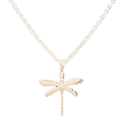 Sterling silver pendant necklace, 'Wings of Desire' - Hand Crafted Sterling Silver Dragonfly Pendant Necklace