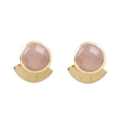 Gold-plated onyx stud earrings, 'Pink Glamour' - Hand Crafted Gold-Plated Sterling Silver Onyx Stud Earrings