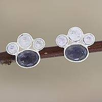 Labradorite and rainbow moonstone stud earrings, 'Mystic Tiara' - Labradorite and Rainbow Moonstone Stud Earrings