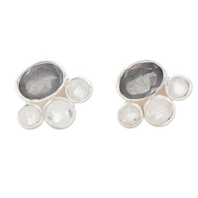Labradorite and rainbow moonstone stud earrings, 'Mystic Tiara' - Labradorite and Rainbow Moonstone Stud Earrings