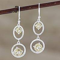 Citrine dangle earrings, 'Winter Romance in Yellow' - Handmade Citrine and Sterling Silver Dangle Earrings