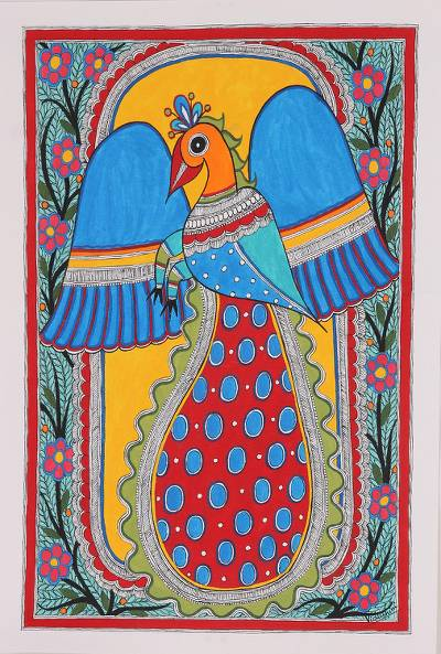 Madhubani painting, Flying Peacock