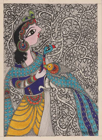 Krishna-Themed Madhubani Painting on Handmade Paper