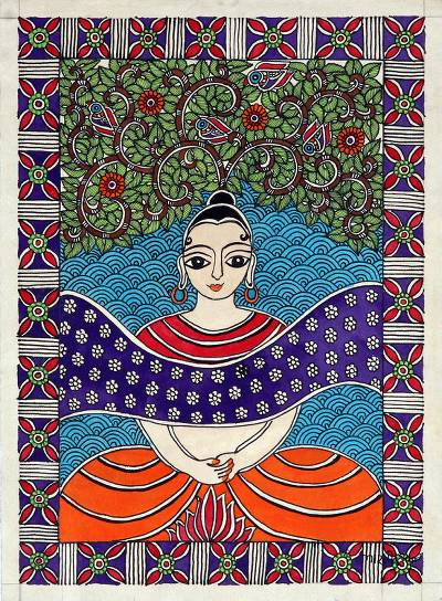 Signed Buddha-Themed Madhubani Painting on Handmade Paper
