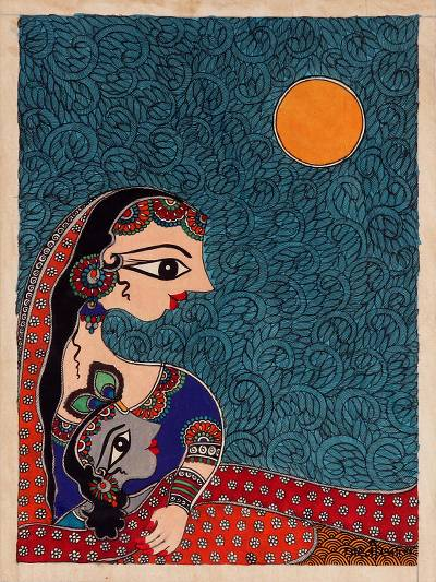 Madhubani Figurative Painting on Handmade Paper