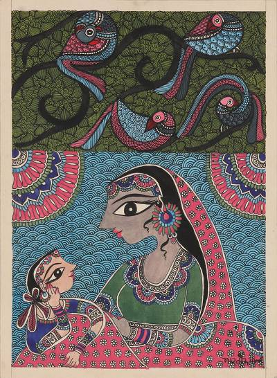 Mother and Child Madhubani Painting on Handmade Paper