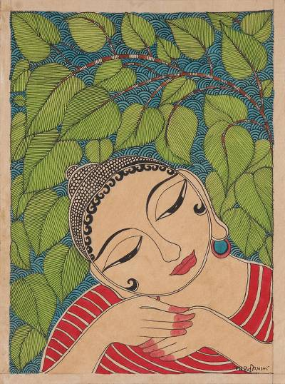 Madhubani Folk Art Buddha Painting on Handmade Paper