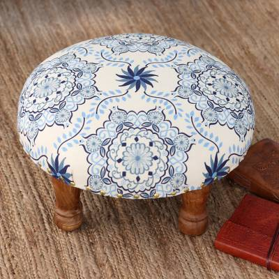 Upholstered ottoman foot stool, 'Open Skies' - Blue and Ivory Floral Motif Ottoman Foot Stool