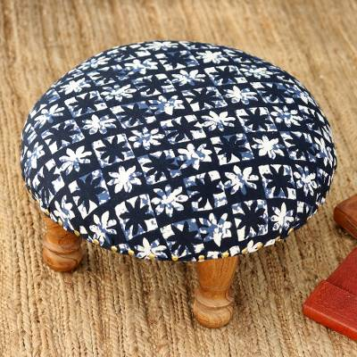Upholstered ottoman foot stool, 'Blue Blossoms' - Blue and White Floral Motif Ottoman Foot Stool