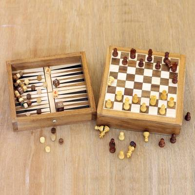 Mini wood game set, 'Double Trouble' - Mini Acacia Wood Chess and Backgammon Game Set