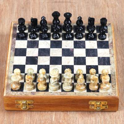 Soapstone chess set, 'Intellectual Challenge' - Hand Crafted Soapstone Chess Set