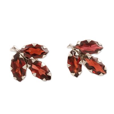 Garnet button earrings, 'Radiant Chinar' - Garnet and Sterling Silver Button Earrings