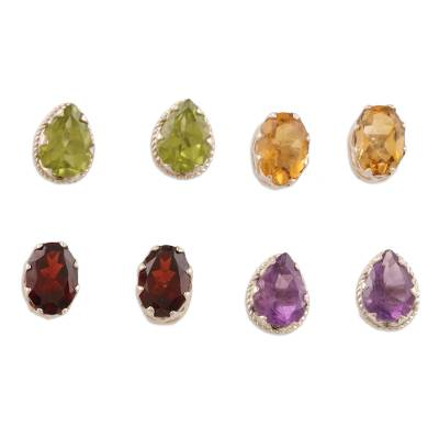 Gemstone stud earrings, 'Four Virtues' (set of 4) - Hand Crafted Gemstone Stud Earrings (Set of 4)