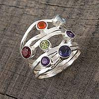 Multi-gemstone band ring, 'Rainbow Water' - Amethyst and Blue Topaz Multi-Gem Band Ring