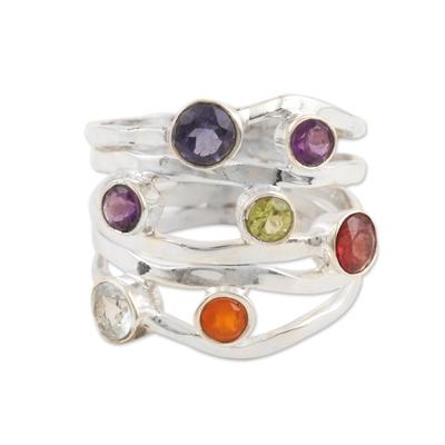 Multi-gemstone band ring, 'Rainbow Water' - Amethyst and Blue Topaz Multi-Gem Band Ring