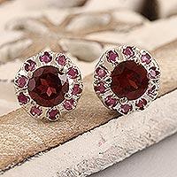 Rhodium-plated ruby and garnet stud earrings, 'True Harmony' - Rhodium-Plated Ruby and Garnet Stud Earrings