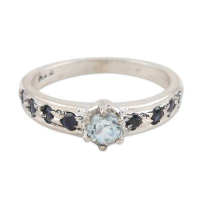 Sapphire and blue topaz cocktail ring, 'Sea Sparkles' - Sapphire and Blue Topaz Solitaire Ring