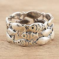 Sterling silver band ring, 'Fish School' - Handmade Sterling Silver Fish-Motif Band Ring
