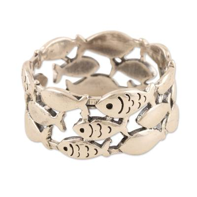 Sterling silver band ring, 'Fish School' - Handmade Sterling Silver Fish-Motif Band Ring