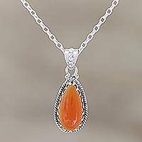 Carnelian pendant necklace, 'Energizing Orange' - Sterling Silver and Citrine Pendant Necklace