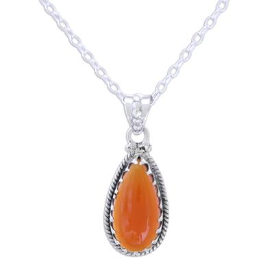 Carnelian pendant necklace, 'Energizing Orange' - Sterling Silver and Citrine Pendant Necklace