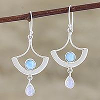 Larimar and rainbow moonstone dangle earrings, 'Sky Chandelier' - Larimar and Rainbow Moonstone Dangle Earrings