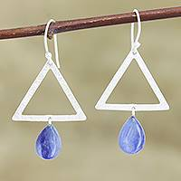 Kyanite dangle earrings, 'Blue Triangle ' - Kyanite and Sterling Silver Triangle Dangle Earrings