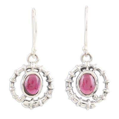 Garnet dangle earrings, 'Scarlet Coil' - Handmade Sterling Silver and Garnet Dangle Earrings