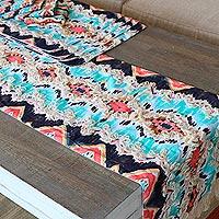 Cotton table linen set, 'Sunset Shores' (set for 4)
