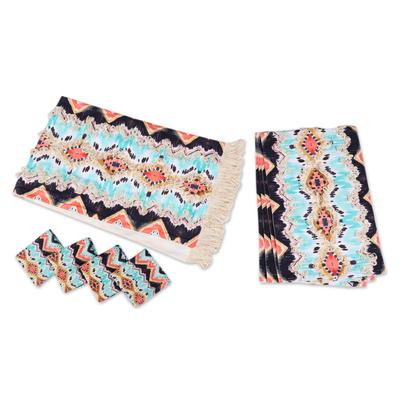 Cotton table linen set, 'Sunset Shores' (set for 4) - Geometric-Patterned Cotton Table Linen Set (Set for 4)