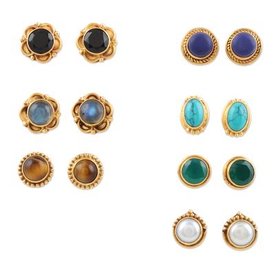 Gemstone stud earrings, 'Daily Glamour' (set of 7) - Gold-Plated Multi-Gemstone Stud Earrings (Set of 7)