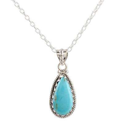 Sterling silver pendant necklace, 'Classic Pair' - Sterling Silver and Reconstituted Turquoise Pendant Necklace