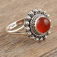 Carnelian cocktail ring, 'Orange Day' - Sterling Silver and Carnelian Cocktail Ring