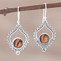 Tiger's eye dangle earrings, 'Striped Bliss' - Sterling Silver and Tiger's Eye Dangle Earrings