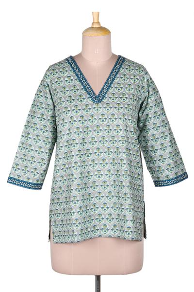 Embroidered cotton tunic, 'Summer Celebration' - Hand-Embroidered Floral-Motif Cotton Tunic