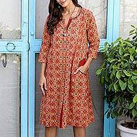 Embroidered cotton dress, 'Red Dreams' - Hand Embroidered Cotton Knee-Length Dress