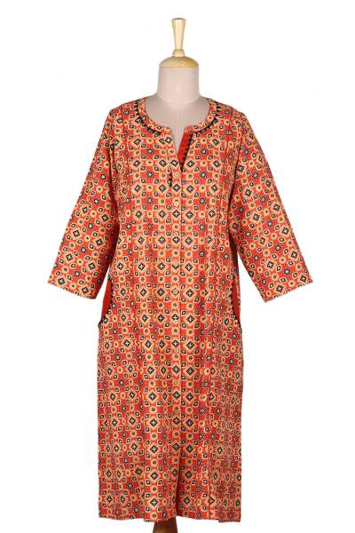 Hand Embroidered Cotton Knee-Length Dress