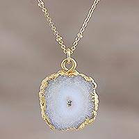 Gold-plated quartz pendant necklace, 'White Illusion' - Gold-Plated White Solar Quartz Pendant Necklace