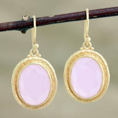 Gold-plated rose quartz dangle earrings, 'Pink Flame' - Gold-Plated Sterling Silver Rose Quartz Dangle Earrings