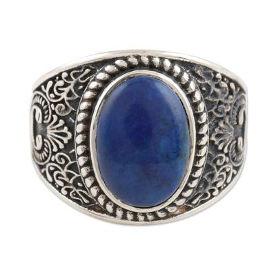 Men's lapis lazuli cocktail ring, 'Falling in Blue' - Men's Sterling Silver and Lapis Lazuli Cocktail Ring