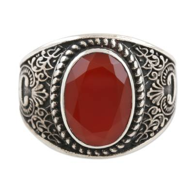 Men's onyx cocktail ring, 'Falling in Red' - Men's Sterling Silver and Red Onyx Cocktail Ring