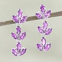 Rhodium-plated amethyst drop earrings, 'Violet Leaves' - Rhodium-Plated Sterling Silver Amethyst Earrings
