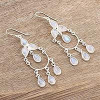 Rainbow moonstone chandelier earrings, 'Sky Dance' - Sterling Silver and Rainbow Moonstone Chandelier Earrings