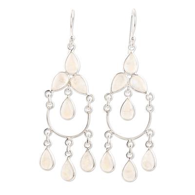Rainbow moonstone chandelier earrings, 'Sky Dance' - Sterling Silver and Rainbow Moonstone Chandelier Earrings