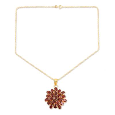 Gold-plated garnet pendant necklace, 'Radiant Sign' - Gold-Plated Sterling Silver Garnet Pendant Necklace