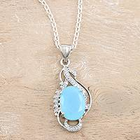 Chalcedony and cubic zirconia pendant necklace, 'Ice Palace' - Chalcedony and Cubic Zirconia Pendant Necklace