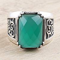 Men's onyx cocktail ring, 'Water Vision' - Handmade Men's Green Onyx Cocktail Ring