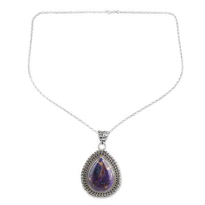 Sterling silver pendant necklace, 'Purple Lover' - Sterling Silver and Composite Turquoise Pendant Necklace