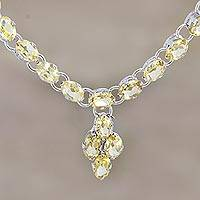 Rhodium-plated citrine pendant necklace, 'Cheerful Music' - Rhodium-Plated Sterling Silver Citrine Pendant Necklace