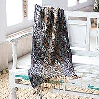 Wool shawl, 'Diamond Delight' - Diamond-Patterned Wool Shawl